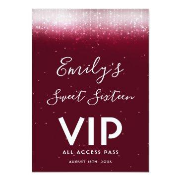 Small Glam Burgundy Sweet 16 Invitation Vip Pass Badge Front View