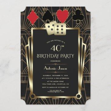glam casino great gatsby 40th poker birthday invitation