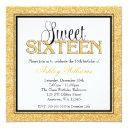 glam faux glitter gold black sweet 16 invitation