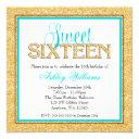 glam faux glitter gold teal sweet 16 invitation