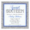 glam faux glitter silver blue sweet 16 invitation