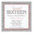 glam faux glitter silver coral sweet 16 invitation