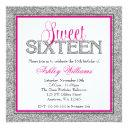 glam faux glitter silver hot pink sweet 16 invitation