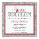 glam faux glitter silver red sweet 16 invitations