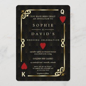 glam gatsby casino las vegas poker wedding invitation
