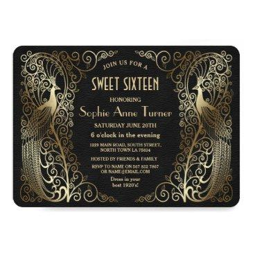 Small Glam Gold Art Deco Peacocks Sweet Sixteen Party Invitations Front View