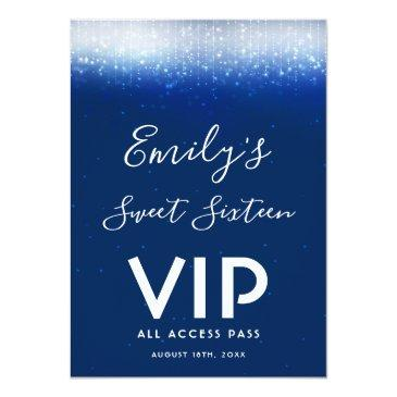 Small Glam Navy Blue Sweet 16 Invitation Vip Pass Badge Front View