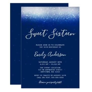 glam navy blue sweet 16 invitations