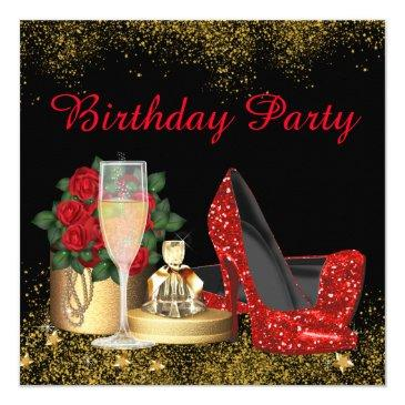glam red high heel shoe birthday party invitation