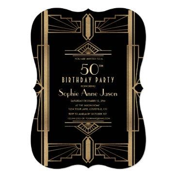 Small Glam Roaring 20's Great Gatsby 50th Birthday Party Invitation Front View