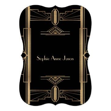 Small Glam Roaring 20's Great Gatsby 50th Birthday Party Invitation Back View