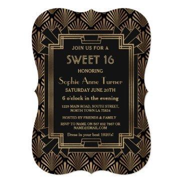 glam roaring 20's great gatsby art deco sweet 16 invitation