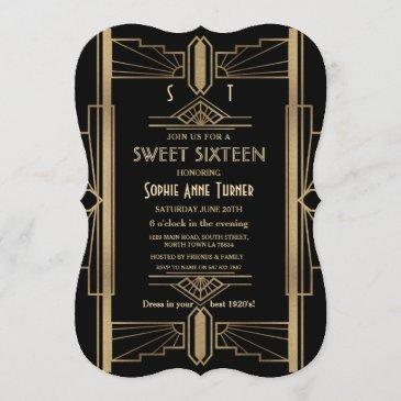 glamorous 1920's great gatsby art deco sweet 16 invitation