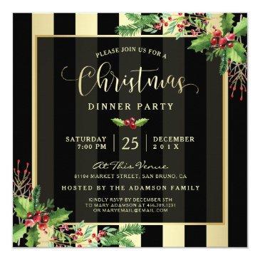 glamorous gold & black stripe holiday party invite