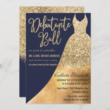 glamorous navy gold glitter dress debutante dance invitation