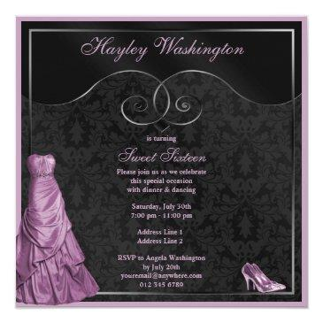 Small Glamorous Purple Ball Gown Black Sweet 16 Invitations Back View