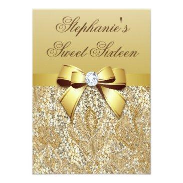 glamorous sweet 16 faux gold sequins and bow invitation