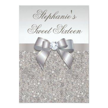 Small Glamorous Sweet 16 Faux Silver Sequins And Bow Invitations Front View