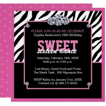 glamourous sweet sixteen birthday party invitation