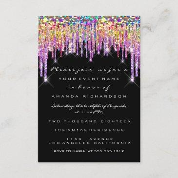 glitter drips rose bridal 16th rainbow mermaid invitation