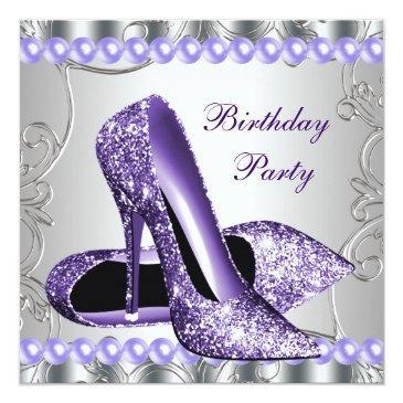 glitter pearls purple high heels shoes birthday invitation