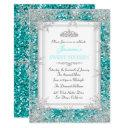 glitter teal silver winter wonderland sweet 16 invitations