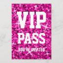 glitz pink 'vip pass' invitation