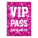 glitz pink 'vip pass' invitation