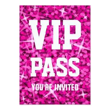 Small Glitz Pink 'vip Pass' Invitation Front View