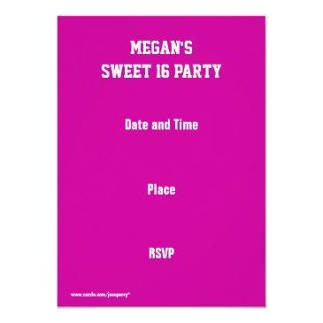 Small Glitz Pink 'vip Pass' Invitation Back View