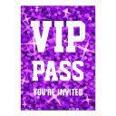 glitz purple 'vip pass' invitations