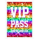 glitz rainbow stripe 'vip pass' invitation