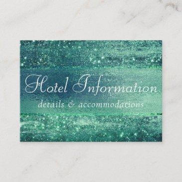 glitzy minimalist | iridescent green hotel details enclosure invitations