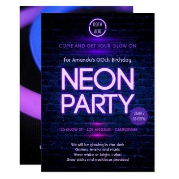 glow in the dark neon themed party