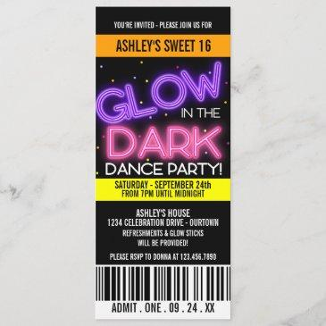 glow in the dark sweet 16 party invitation