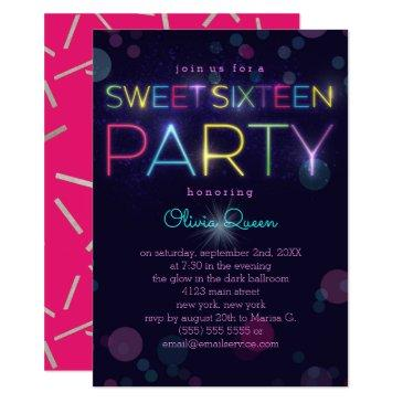 glowing neon sweet sixteen party