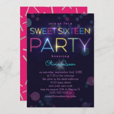 glowing neon sweet sixteen party invitation