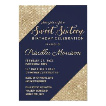 Small Gold And Navy Blue Faux Glitter Sequin Sweet 16 Invitation Front View