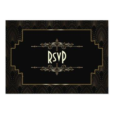 Small Gold Art Deco Gatsby 1920s Style Wedding Rsvp Front View
