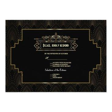 Small Gold Art Deco Gatsby 1920s Style Wedding Rsvp Back View