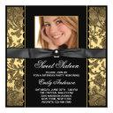 gold black damask photo sweet 16 party invitations