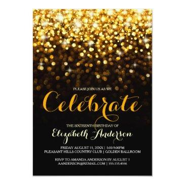 Small Gold Black Hollywood Glam Sweet Sixteen Invitation Front View