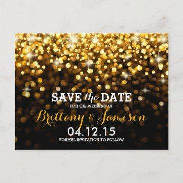 gold black hollywood glitz glam save the date announcement post