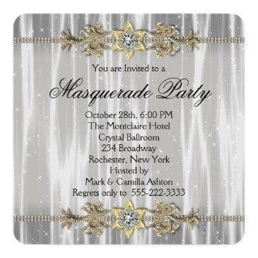 Small Gold Black White Masquerade Party Invitations Back View