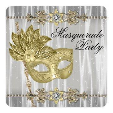 Small Gold Black White Masquerade Party Invitations Front View