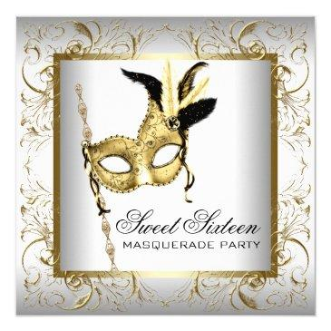 Small Gold Black White Sweet Sixteen Masquerade Party Invitations Front View