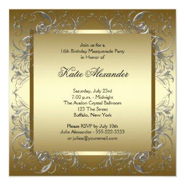 Small Gold Black White Sweet Sixteen Masquerade Party Invitations Back View
