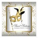 gold black white sweet sixteen masquerade party