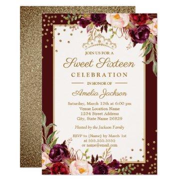 gold burgundy floral sparkle sweet sixteen