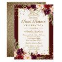 gold burgundy floral sparkle sweet sixteen invitation